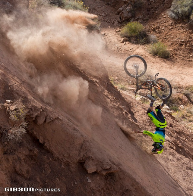 Cam Zink crashes during Red Bull Rampage in Virgin, UT, USA on 14 October, 2016.